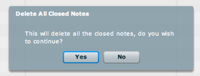 delete all notes popup