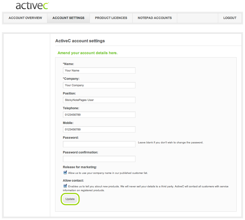 account settings page